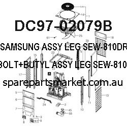 DC97-02079B-ASSY LEG;SEW-810DRP,BUILT-IN/BOLT+BUTYL,